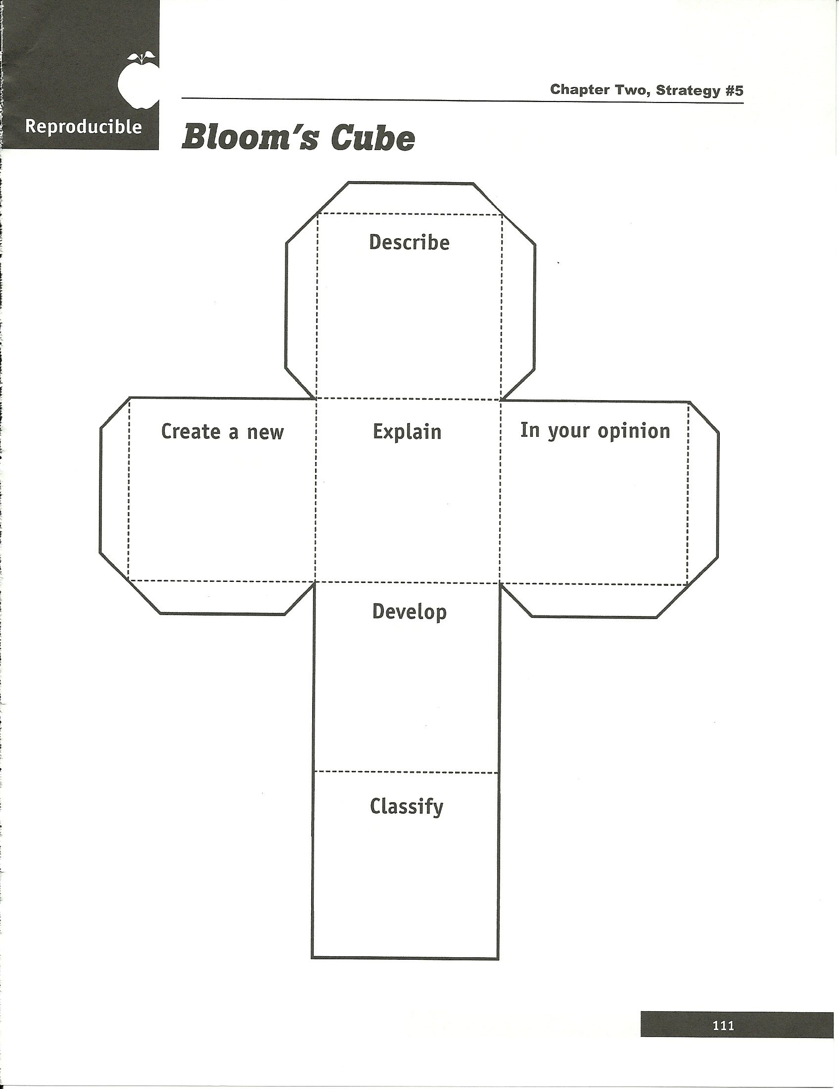Bloom S Taxonomy Cube Template Great To Ac Pany A Reading