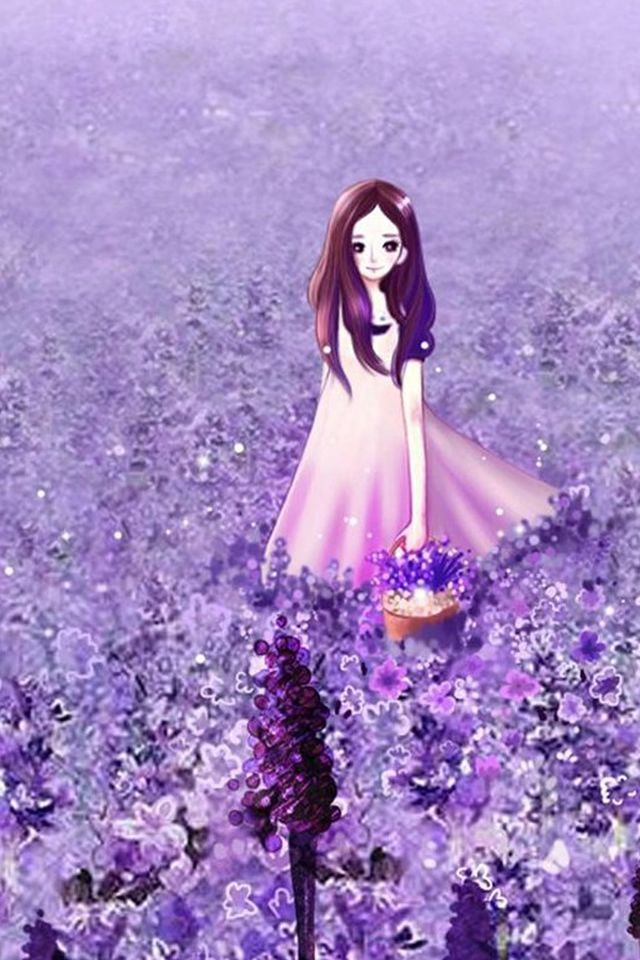 Anime Cute Little Girl In Lavender Garden Iphone 4s Wallpaper Download Iphone Wallpapers Ipad Wa Girl Iphone Wallpaper Purple Flowers Garden Purple Flowers Cute anime wallpaper for iphone 4