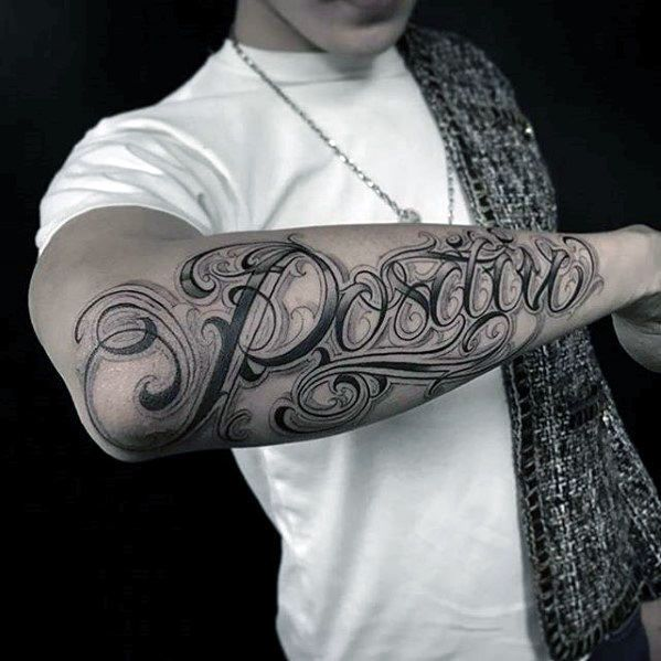 Script cursive mens different outer forearm name tattoo for Cursive neck tattoos