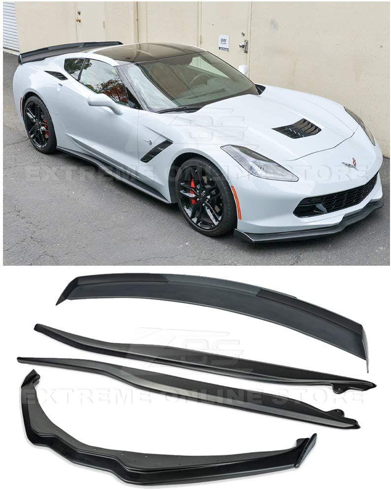 For 14 19 Corvette C7 Z06 Front Lip Splitter End Cap Side Skirts Rear Spoiler In 2020 Corvette C7 Corvette Carbon Fiber