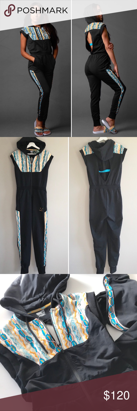 a508251203e8 Puma x Coogi NEW romper jumpsuit hooded black S Puma x Coogi women romper  size small 854616 Black cap sleeve terry hooded jumpsuit with blue sweater  knit ...