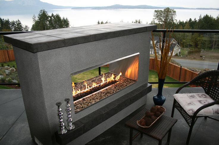 Modern Double Sided Outdoor Fireplaces