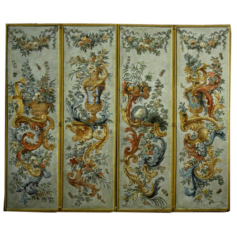 Italian 18th Century Four Panel Painted Screen Viewed With