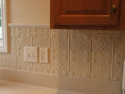 Creamy white granite tin backsplash in 3 pattern 12 my painted country kitchen - American tin tiles wallpaper ...