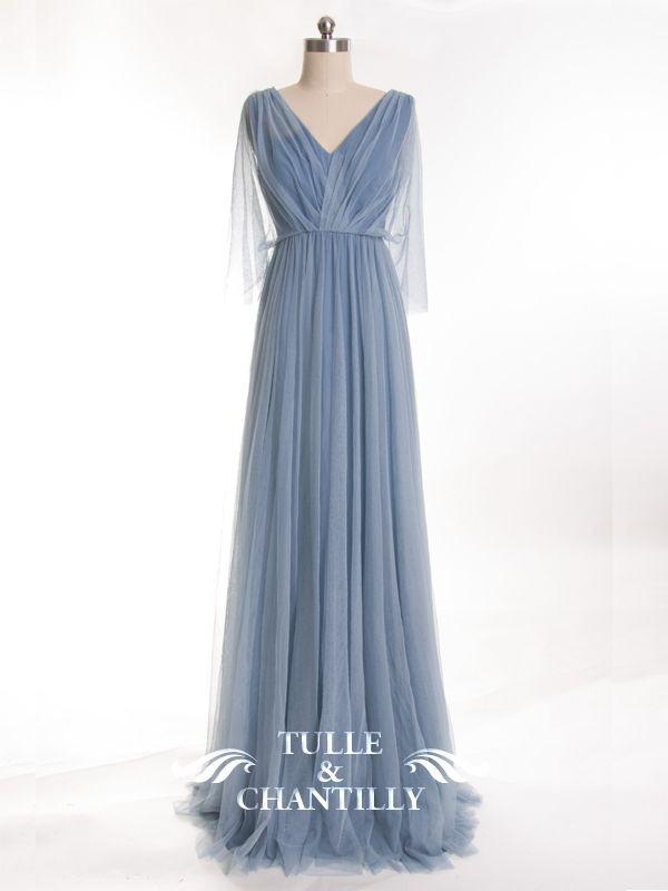 Long-Pleated-V-neck-Tulle-Windsor-Blue-Bridesmaid-Dress | Bridesmaid ...