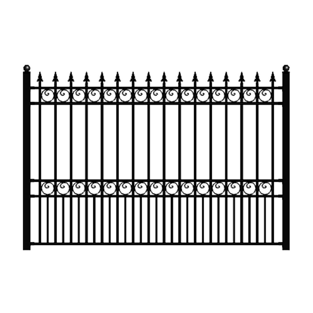 Aleko London Style 5 Ft X 8 Ft Black Iron Fence Panel Fencelon Hd The Home Depot Metal Fence Panels Iron Fence Panels Iron Fence