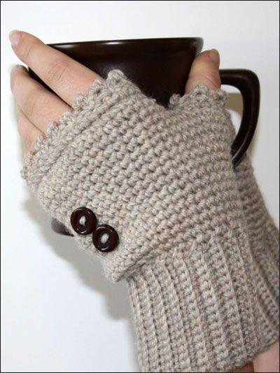 guantes con botones | tejido | Pinterest | Guantes, Botones y Mitones