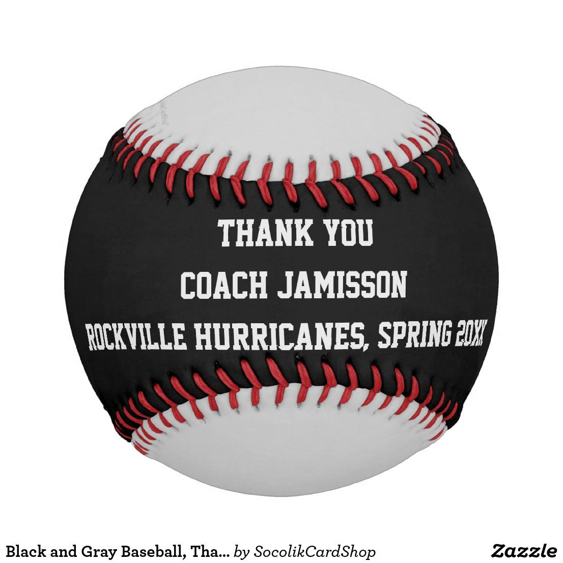 Black And Gray Baseball Thank You To Coach Baseball Zazzle Com Mvp Player Black And Grey Baseball