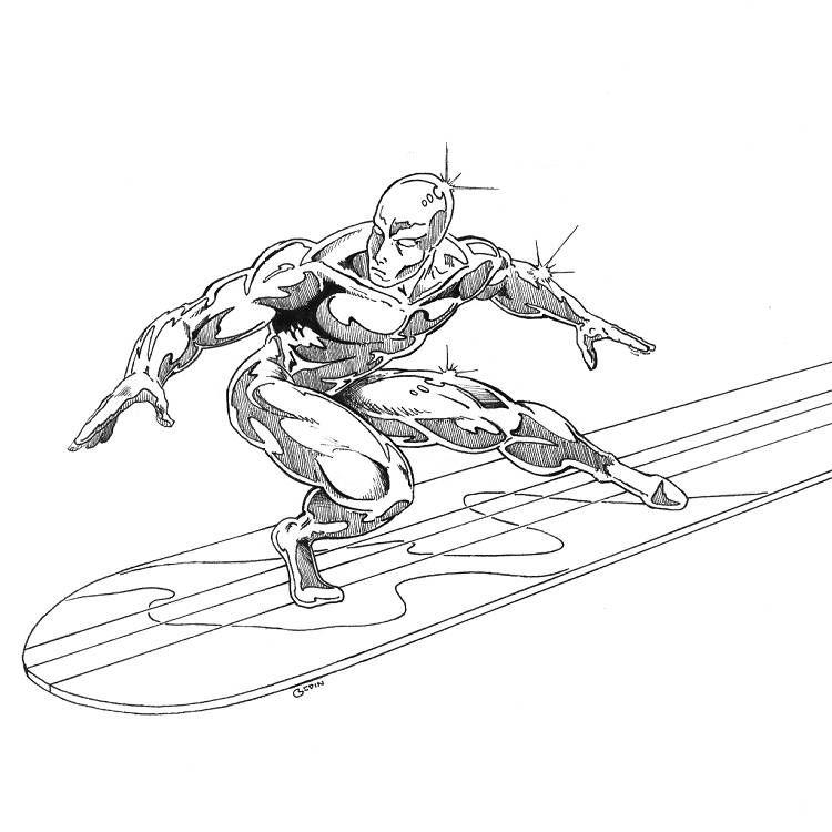 Printable Coloring Pages Silver Surfer Superheroes Silver