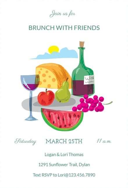 Free Brunch \ Lunch Party Invitation Templates Greetings Island - lunch invitation templates