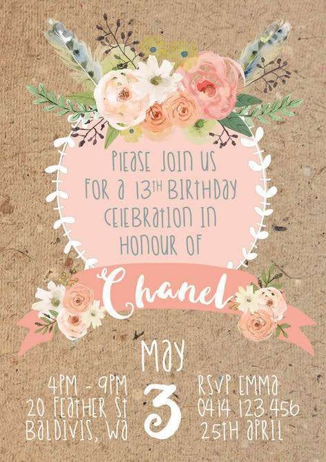 Pretty floral invites at a boho birthday party! See more party ideas at CatchMyParty.com!