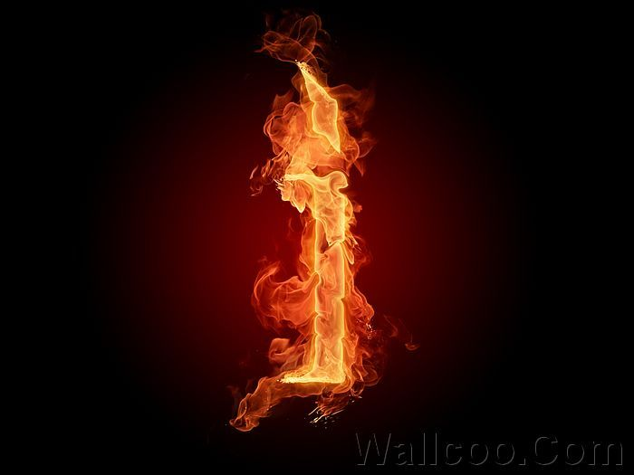 Realistic Fiery Letters And Numbers
