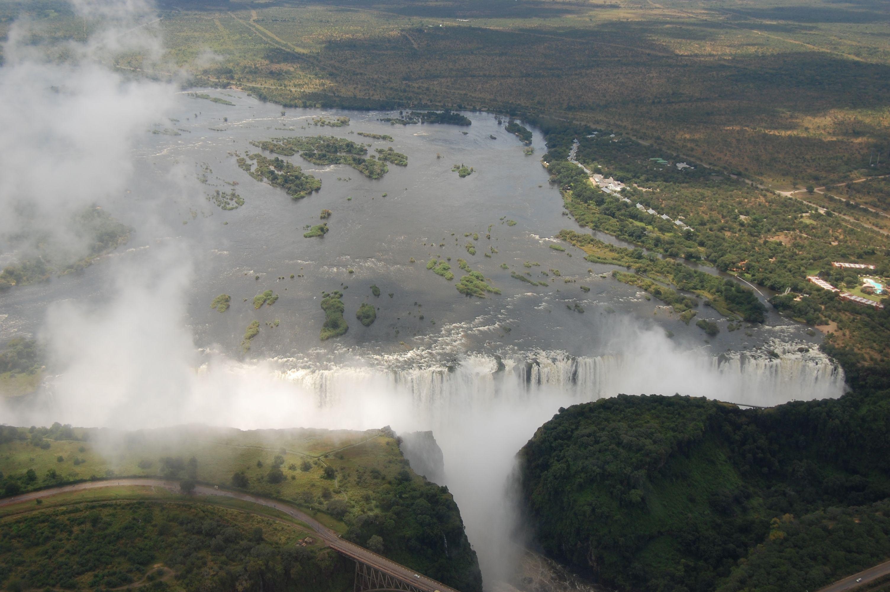 Victoria Falls, airplane view form Zambia