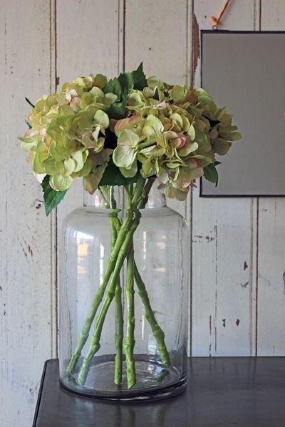 Glass Vase With Hydrangeas Container Pinterest Hydrangea