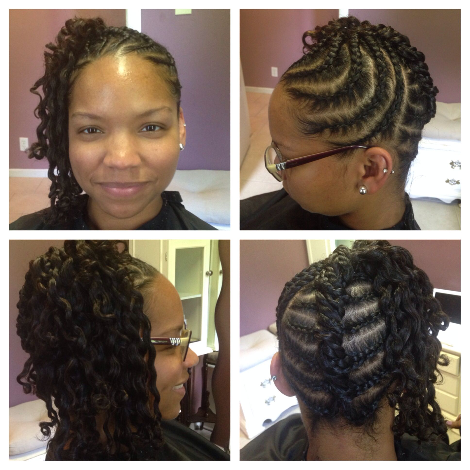 French braided flat twisted updo.