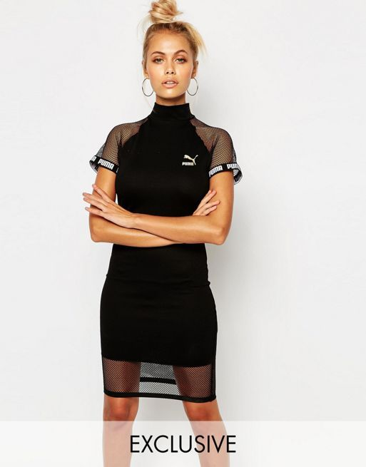 Women Puma Dress Dresses With Inserts Mesh Black Form Fitting roeCxBd