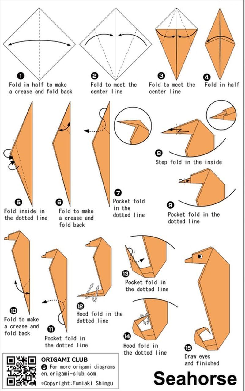 Origami Sea Horse Easy Models Diagrams
