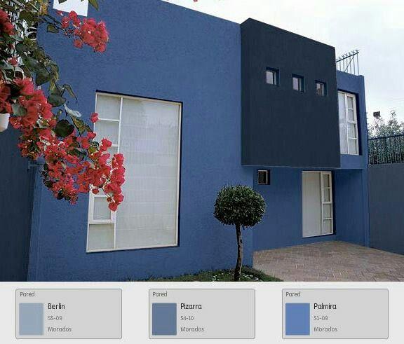 Casa azul casa pinterest casas azules azul y fachadas for Color fachada casa