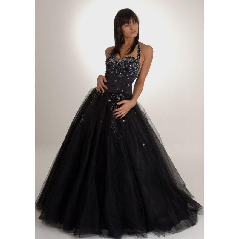 black+long+prom+dress | Long Halter Black Puffy Wedding Dresses with ...