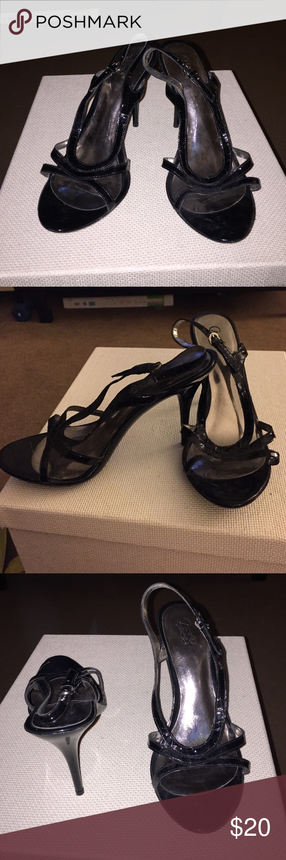 Black sandals 2 inch heel - Carlos Santana Straps Black Heeled Sandals