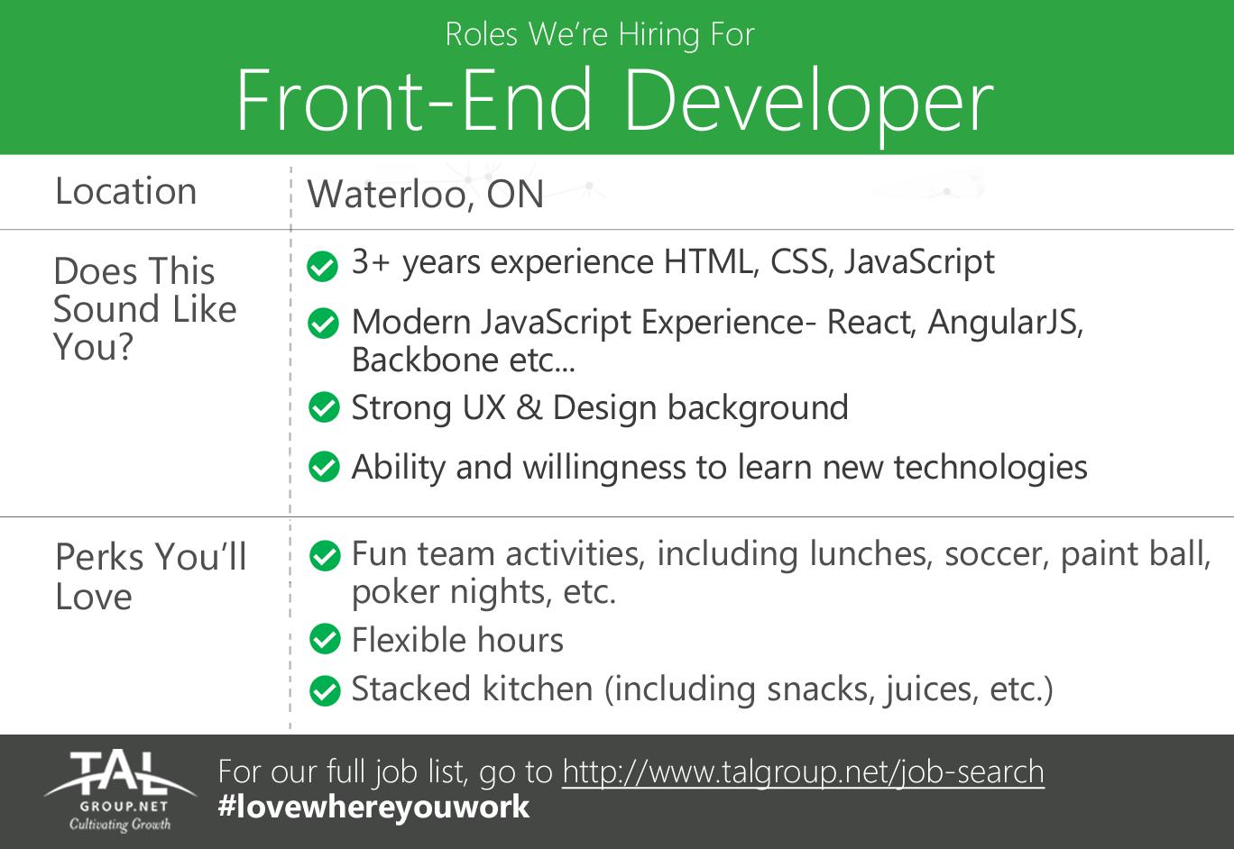 Hiring a FrontEnd Developer (Fulltime) in Waterloo, ON