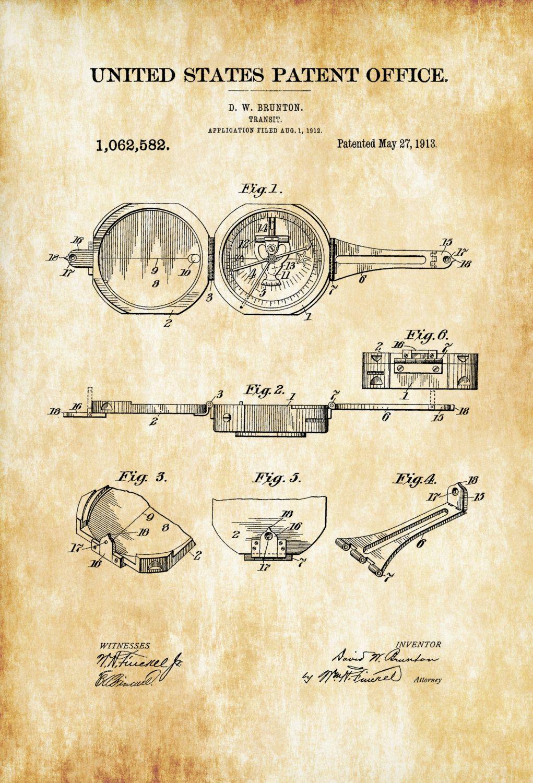 Compass Transit Patent 1913 – Patent Print, Living Room Decor ...