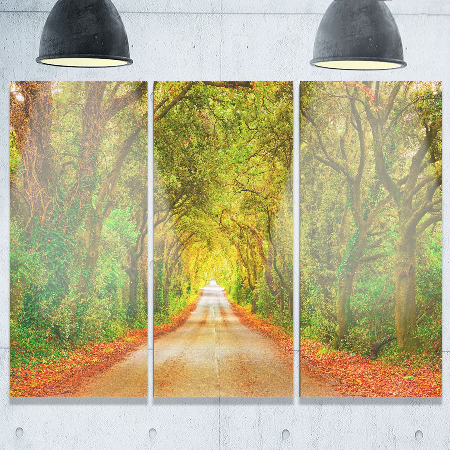 Fall ery and Road Straight Ahead - Oversized Forest Glossy Metal ...