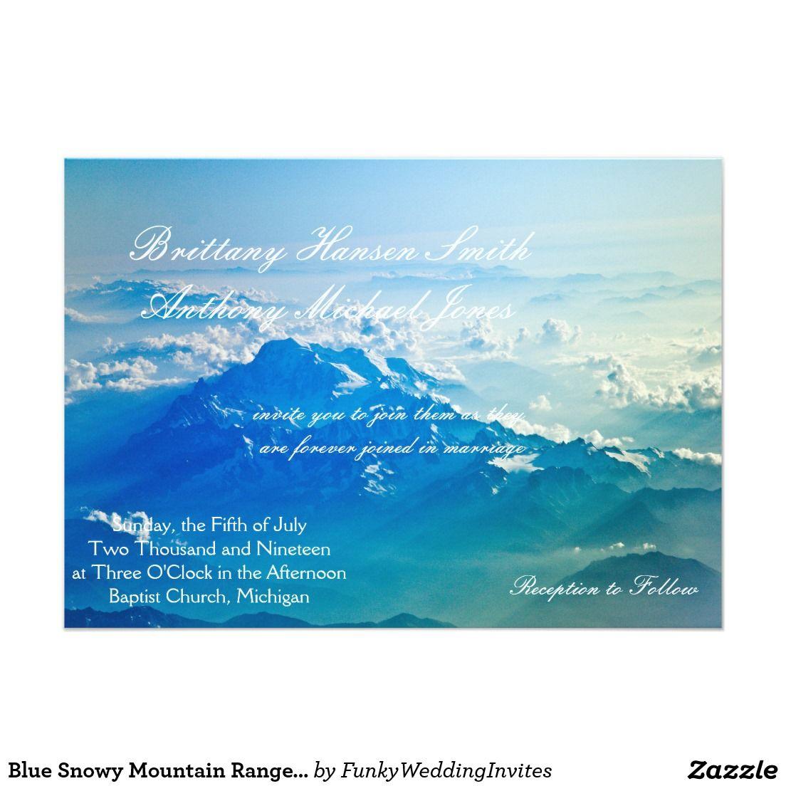 Blue Snowy Mountain Range Wedding Invitation | Mountain Wedding ...