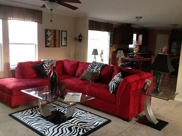 Red Black Zebra Accents Living Room Design Easy Design To