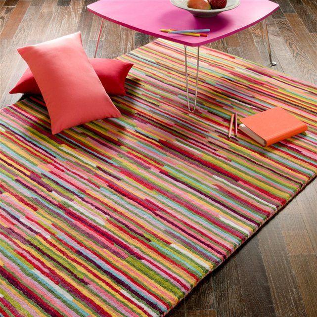 Tapis tuft en laine rayures multicolores linje la redoute interieurs d co pinterest la - Tapis rayures multicolores ...