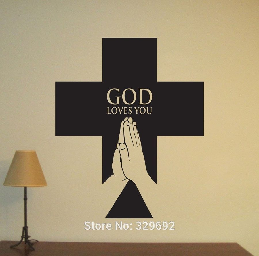 Christian Religious Cross Quote Wall Decal Home Decor GOD LOVE YOU ...
