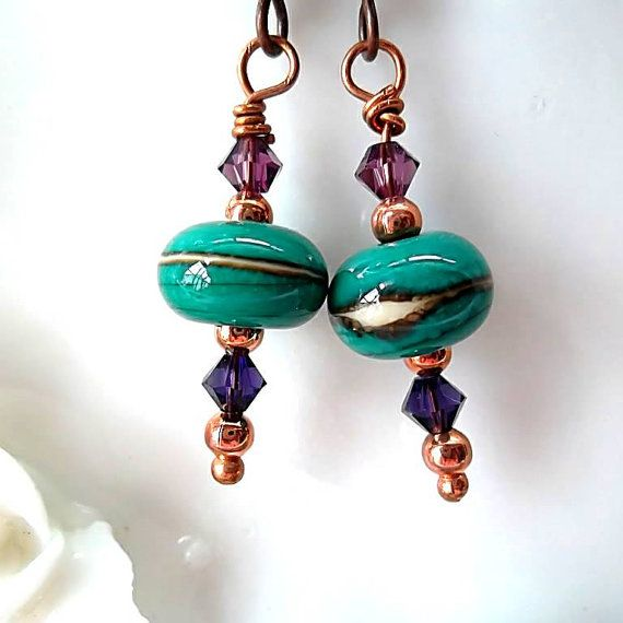 Lampworked Bead Earrings / Mystery / by DarlenesGlassGarden, $22.00