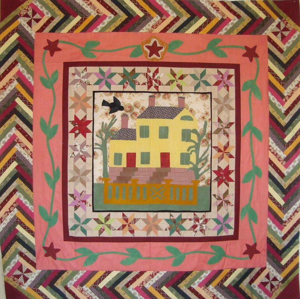 House Quilt A Round Robin With A French Braid Border By Pati Fried Center Design By Sandy Klop American Jane House Quilt Block Quilts Braid Quilt