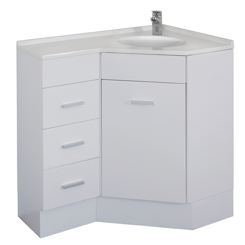 Stein Chanelle White Corner Vanity 900mm Left Hand Corner Vanity Vanity High Gloss White Lacquer