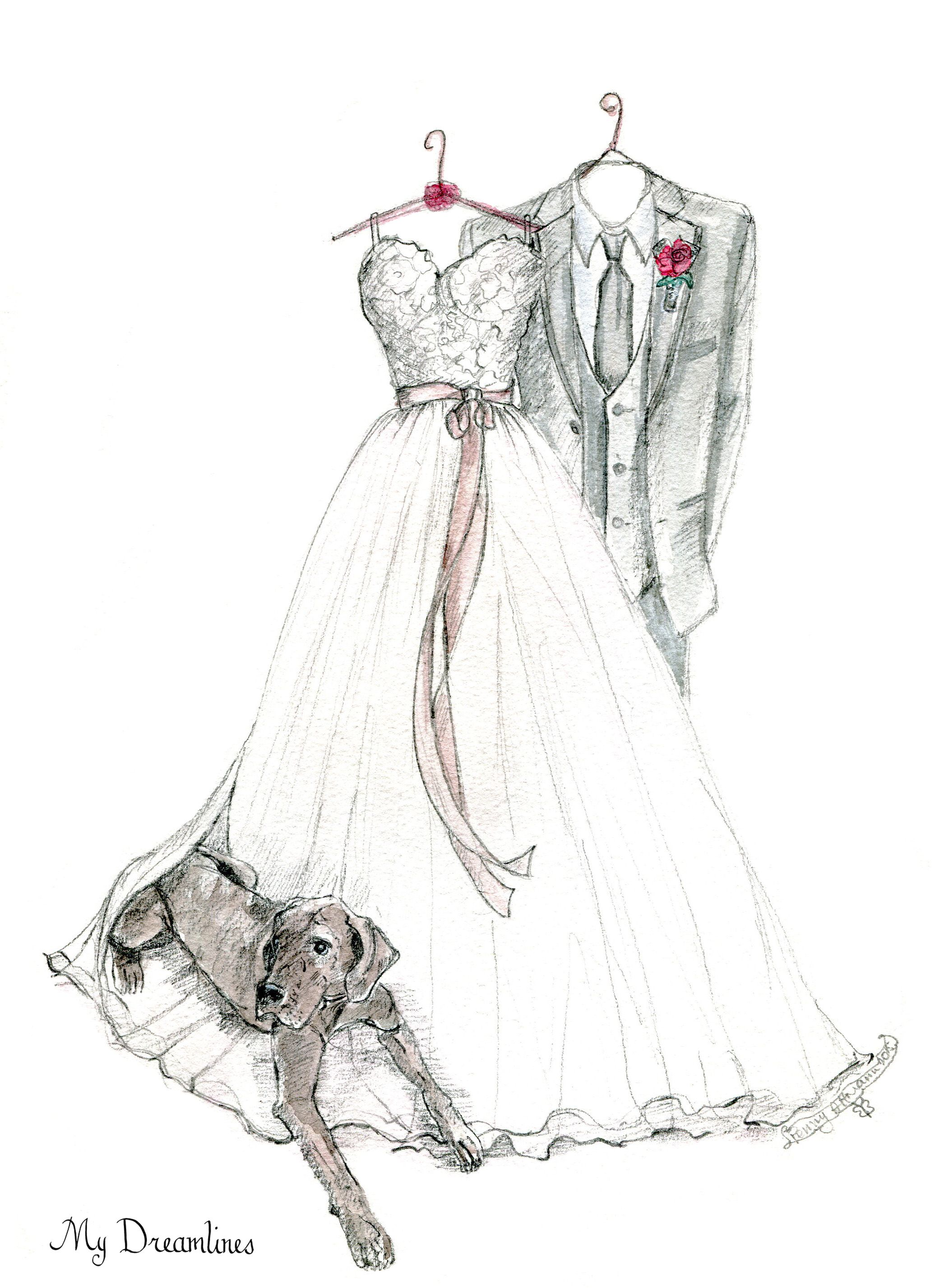 Wedding dress sketch for an anniversary gift, wedding gift and ...