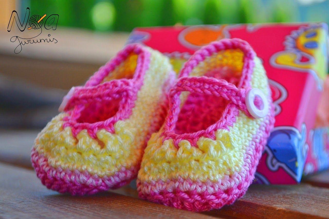 Patucos de ganchillo para bebé - Shoes baby crochet booties by Noagurumis