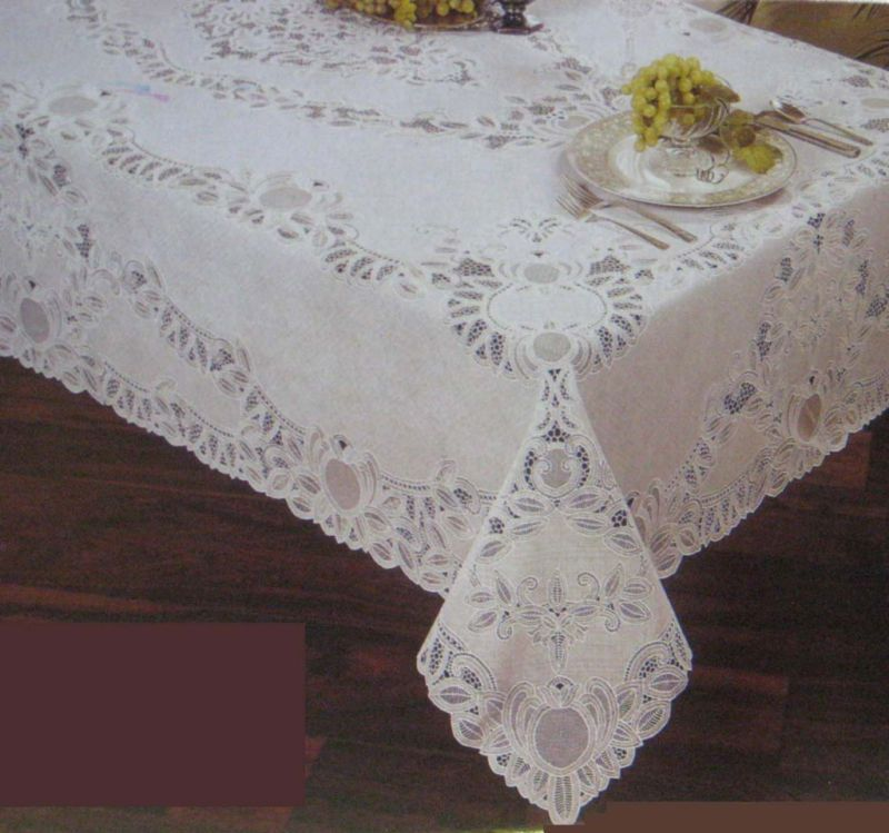 Crochet Lace Vinyl Table Cloth Tablecloth Mint Green Pink White Cream New