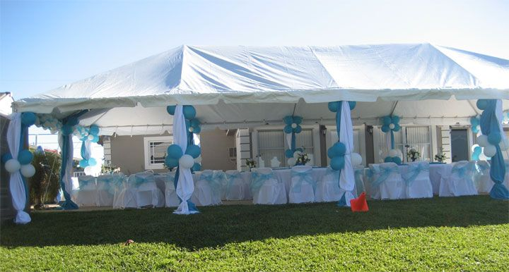Decorated party tent we specialize in outdoor party for Baby shower canopy decoration