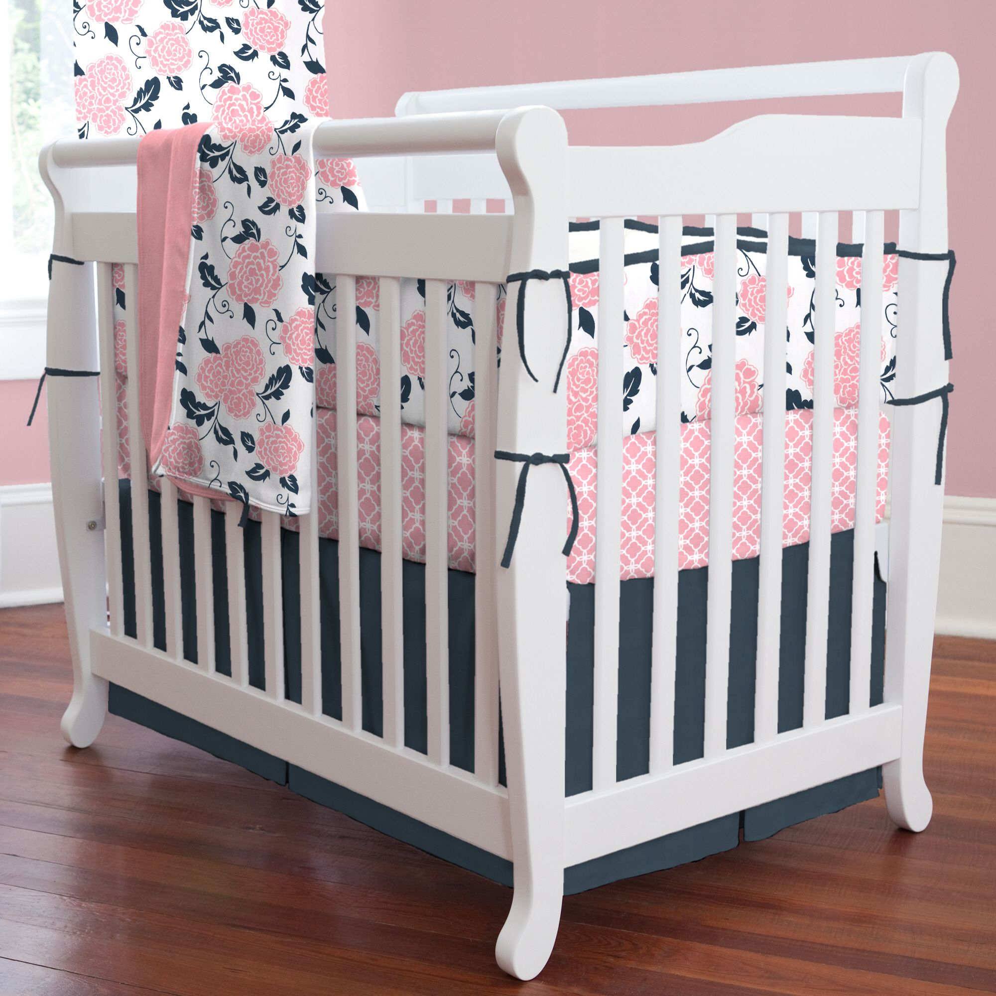 Navy blue bedding for girls - Coral And Navy Floral Mini Crib Bedding Carouseldesigns
