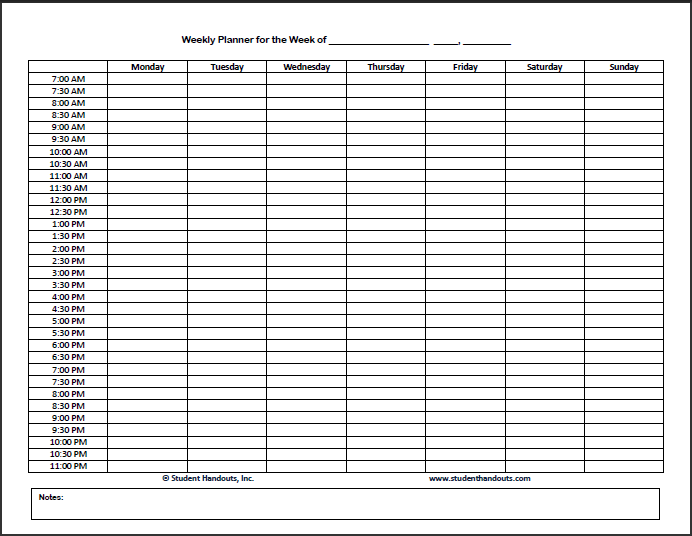 Blank Schedule Template Monday start – Class Timetable Template