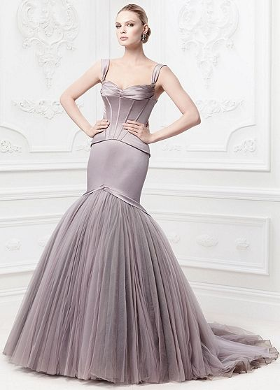 DavidsBridal; Truly Zac Posen Satin Fit and Flare Gown with Corset ...