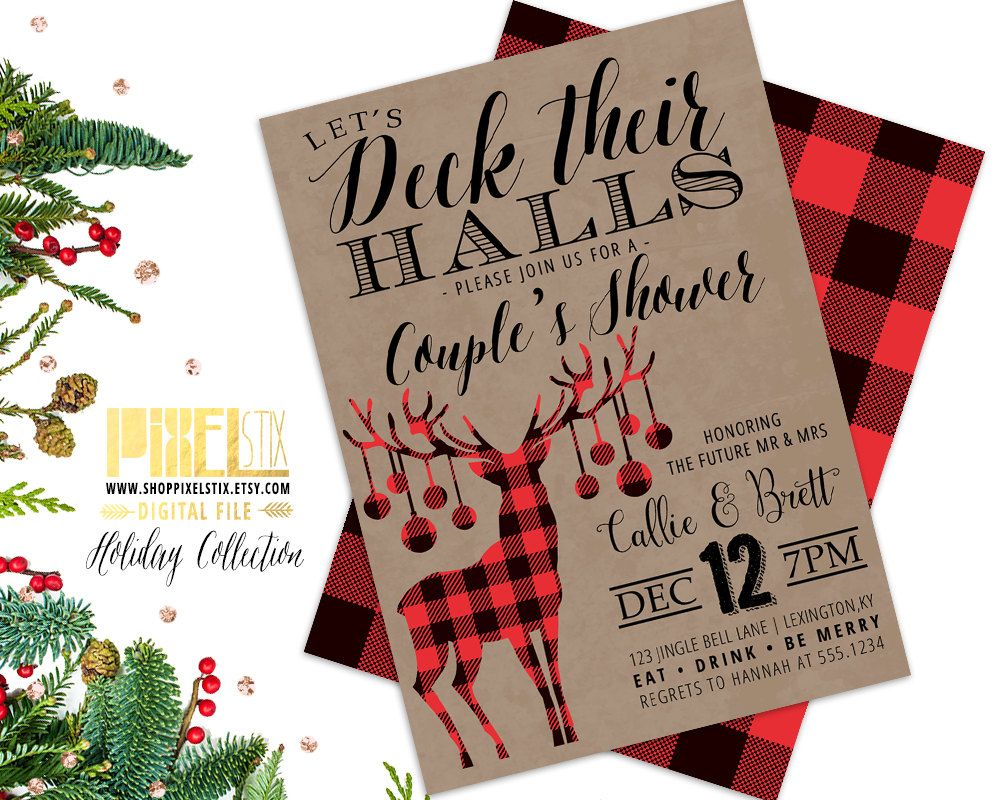 Couples Shower Invitation, Christmas Shower Invite, Deck Their Halls ...
