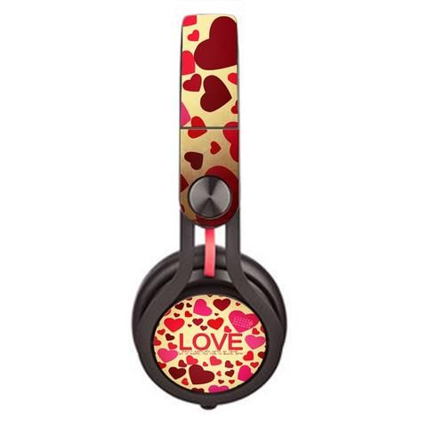 Love Heart Skin decal for Monster Beats Mixr by Dr. Dre headphones - Decal Design