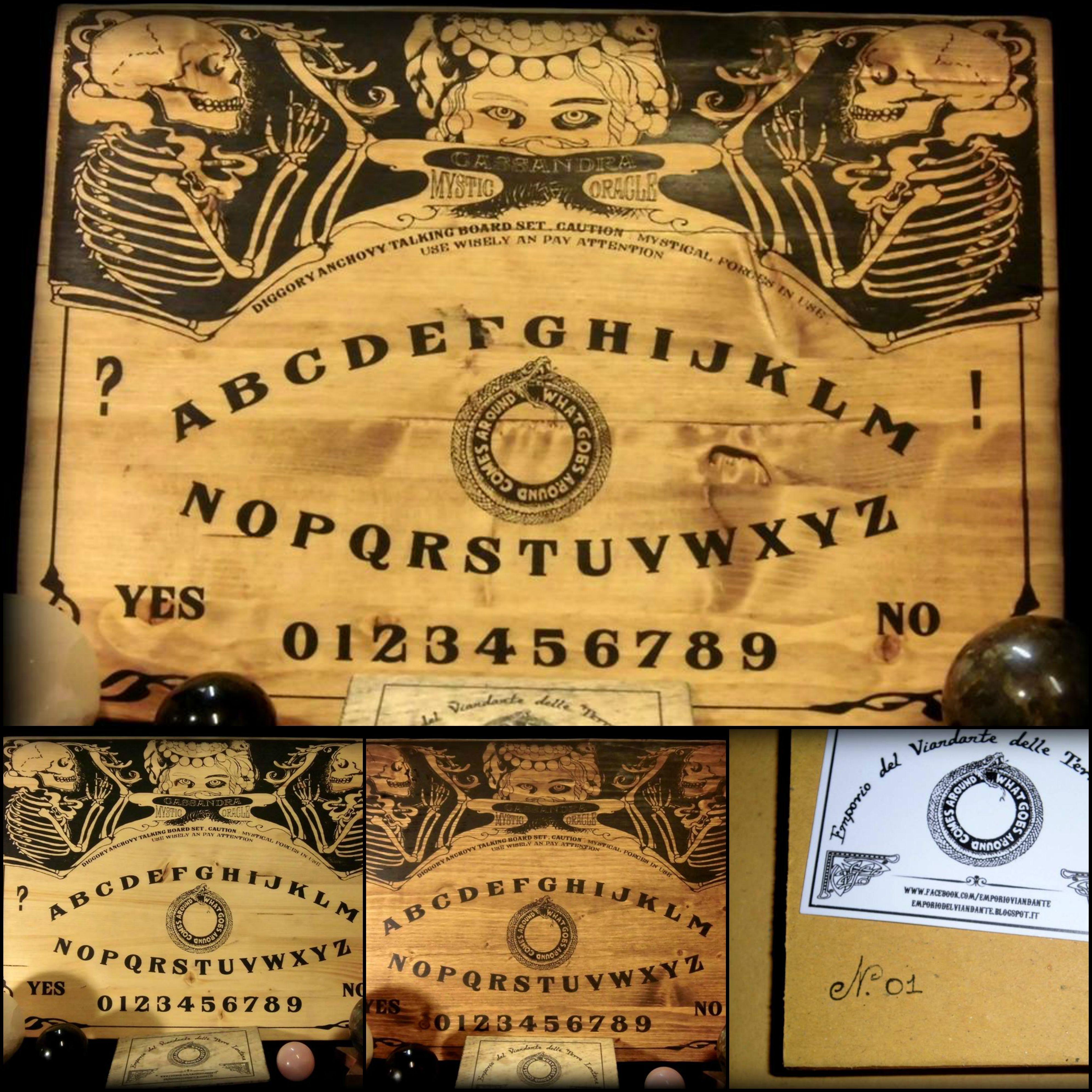 Cassandra Mystic Oracle ( tavola ouija) nelle tre varianti di colore, rispettivamente : medio , chiaro e scuro su tavole di legno di abete.  30 x 42 cm spessore 18mm con planchette di legno leggera in omaggio  35 euro + spedizione (9.90) disegnate da emporio del viandante  www.facebook.com/emporioviandante