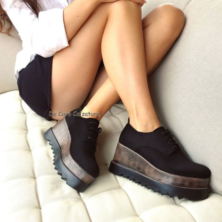 Sneakers da Donna Scarpe con Zeppa Scarpe con Zeppa in Pelle Scamosciata Confortevoli Appartamenti Autunnali Scarpe Casual