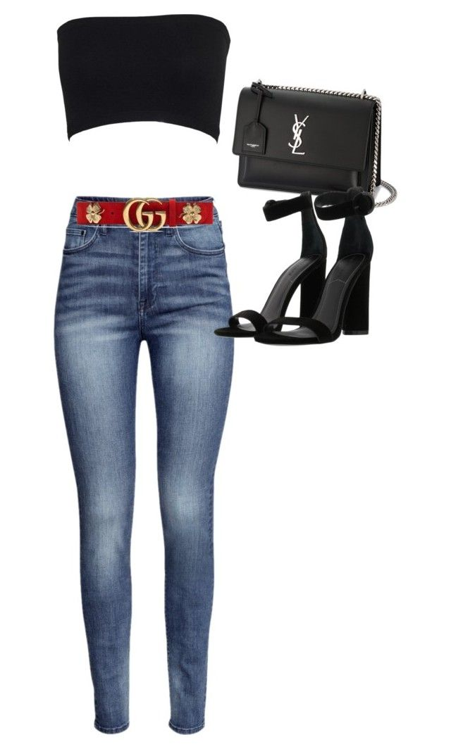 """""""Untitled #2473"""" by mollyk99 ❤ liked on Polyvore featuring H&M, Yves Saint Laurent, Kendall + Kylie and Gucci"""