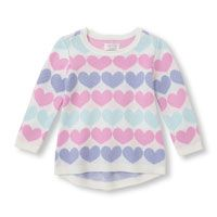 Toddler Girls Long Sleeve Heart Print Crew Neck Sweater