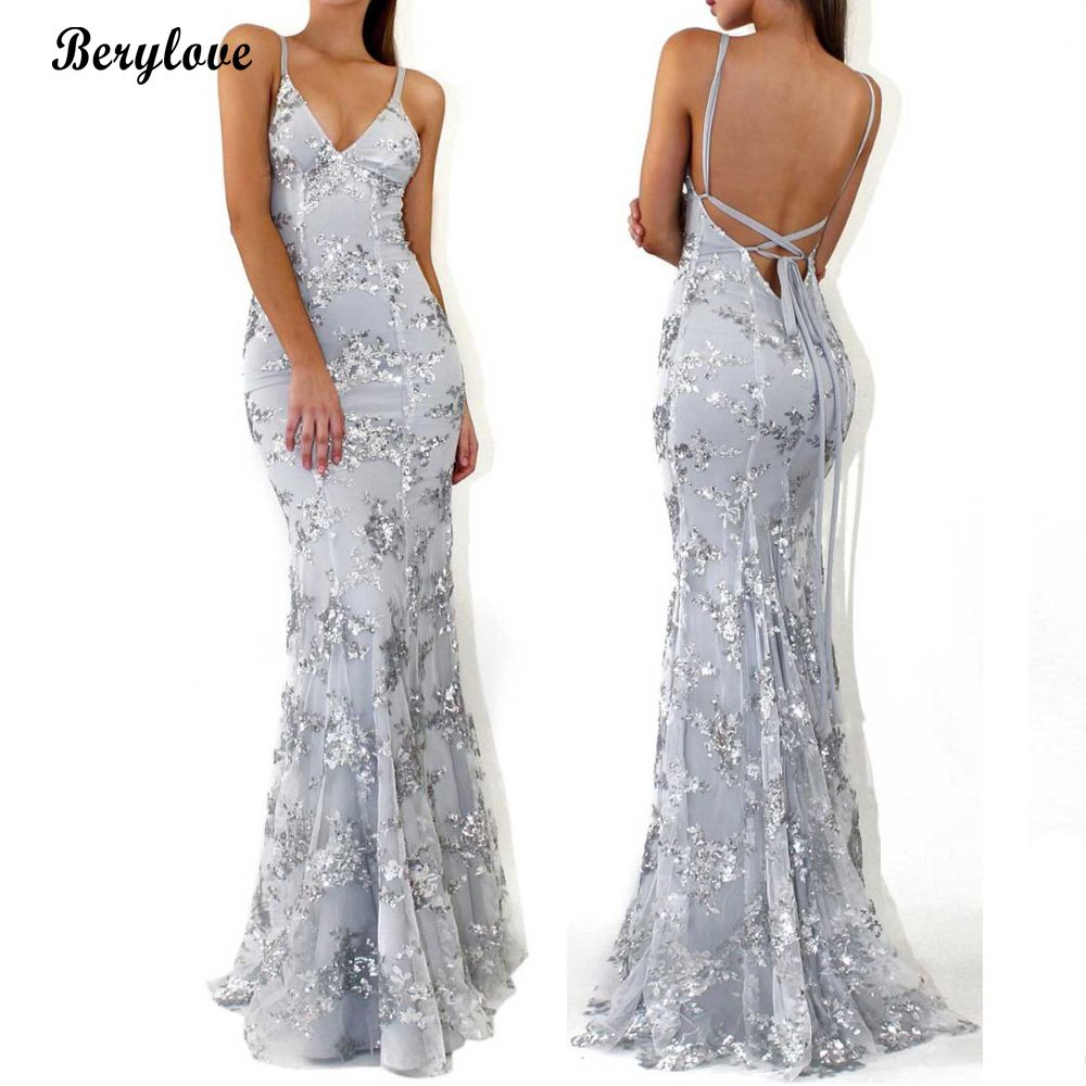 56a120e808 BeryLove Sparkly Mermaid Grey Lace Evening Dresses Long Sequined Backless Prom  Dresses 2018 Women Formal Party Gowns For Prom