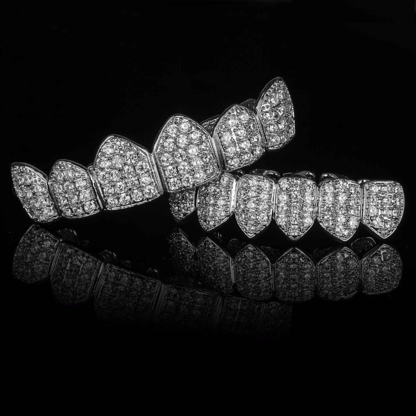 Silver Plated Cz Top Bottom Grillz Mouth Teeth Grills Grills Teeth Grillz Gold Grillz