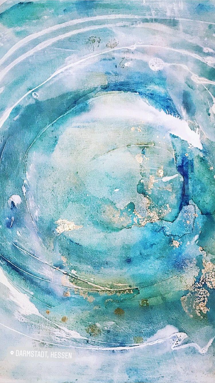 Mandala Acryl Auf Leinwand Malerei Gold Kreis Blau Weiss